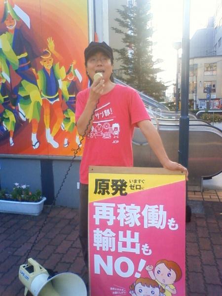 8月2日 徳島駅前にて