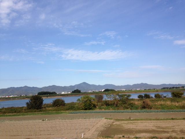 吉野川南岸から藍住町を写す
