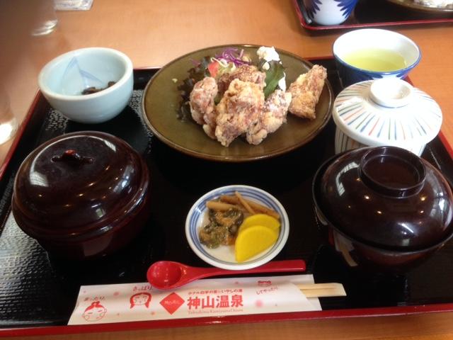 神山鶏の唐揚げ定食