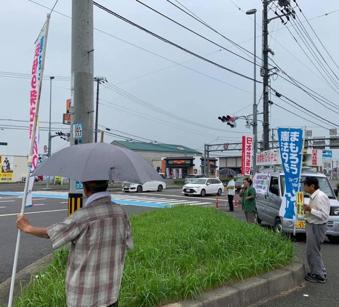 8月19日 雨の中頑張る